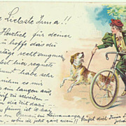Lady on a Bike with Dog. Lithograph 1898