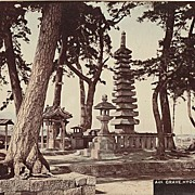 Hyogo. Grave. Large Tinted Albumen Photo. 1880s