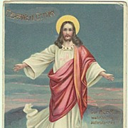 Happy Easter! Vintage Postcard with Jesus Christ over His Grave. 1903