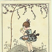 Mela Koehler Easter-Postcard. Girl with Chicks. 1918