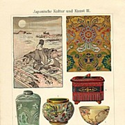 Japanese Culture and Art: Fine Chromolithograph from 1898