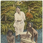Taking a Bath in Panama. Vintage Postcard