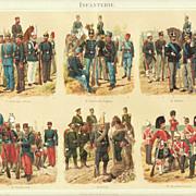 Infantry: Antique Chromo Lithograph. 6 Scenes