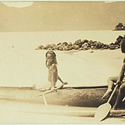 Old Australia: Photo of young Aborigines in Boat.