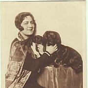 Singer Olga Bauer-Pilecka with her Dogs. Vintage Photo Postcard.