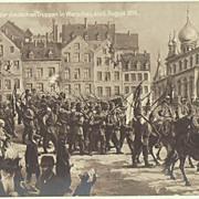German Troops entering Warsaw. Vintage Postcard