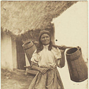Gypsy Lady with Water Buckets. Vintage Photo. 1917
