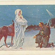 Mother Mary and Soldier. Vintage Postcard