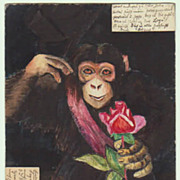 Hand painted Postcard, Monkey with Rose