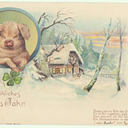 Happy New Year: Postcard with Pig, special technique