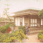 Japanese Ladies in a Garden. Tinted Postcard