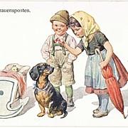 Dachshund Postcard, Artist signed.