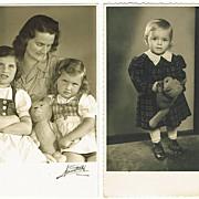 2 Vintage Photos Girls with Teddy Bears