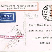 Airship Zeppelin Mail to Holland, 1929