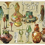 Glass Industry. Antique Chromolithograph from 1898