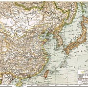 China, Korea and Japan. Antique Map from 1898