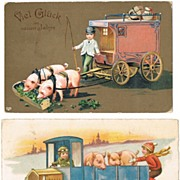 Two New Year's vintage Postcards with Pigs
