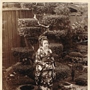 SOLD Japanese Girl in Garden. Albumen Photo. 1880s