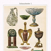 Gemstones: 2 Antique Lithographs depicting 17 Gems