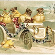 Funny Easter Postcard with Chicks in a Limousine, 1907