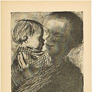 SOLD Kaethe Kollwitz Artist Postcard Mother with Baby 1925