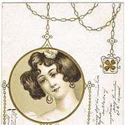 Art Nouveau Postcard Medallion Motif 1903