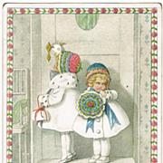 Pauli Ebner New Years Postcard with Little Girls, 1916