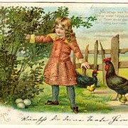 Happy Easter: Chrome Litho Postcard Girl with Chicken . 1905
