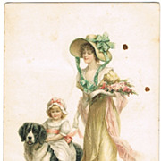 Lady with Girl, riding a Dog. Vintage Postcard