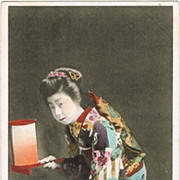 Tinted Japanese Postcard with Ladies in beautiful Kimono and Lantern
