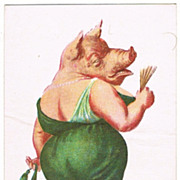 SOLD Pig. Vintage Postcard, probably for New Year