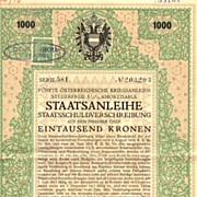 Austrian Art Deco: 5th War Bond 1000 Kronen.
