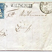 1860: Switzerland: 10 Rappen on Cover.