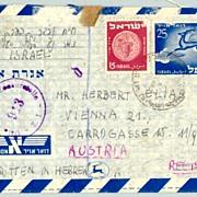 1950: Israel – Austria: Censored Aerogramme.