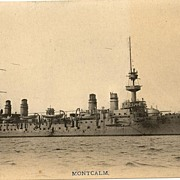 US Vessel MONTCALM: b/w postcard printed in Japan