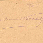 Autograph of commander Ferdinand Kosak, Austrian - Hungarian Empire, WWI