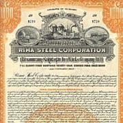 1925: Rima Steel. Wonderful, uncancelled Gold Bond