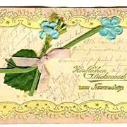 1902: Vintage Postcard. Unusual, embossed Greeting Card