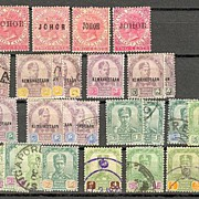 Johor / Malaya: Small lot of 72 stamps. 1882 – 1895. Mint and used