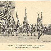American Infantry parading in France / Paris. World War 1 Postcard