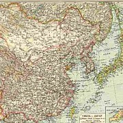1898: Old Map of China and Japan. Printed in Germany