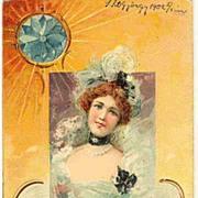 1902: Art Nouveau Postcard. Embossed Litho