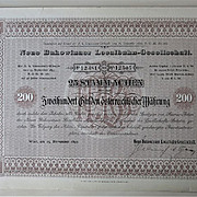 1897, Imperial Austria: Scarce Bukowinaer Local Railway Certificate: 25 Shares