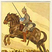 W.W.I.: Advertising Post Card for Leibniz: Rider with Pickelhaube