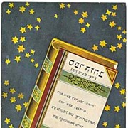 Old Jewish Postcard. Book against a starry Background.