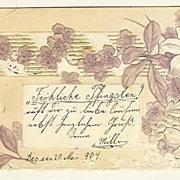Happy Pentecost: Unusual, embossed Postcard from 1904