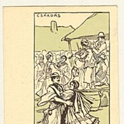 Hungarian Gypsies: Old Litho Postcard