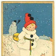 Happy New Year: Vintage Postcard 1926, Pierrot and little Pig