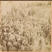 Stereo Photo: Muslim Pilgrims Jerusalem / Palestine. 1899