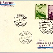 """1937: Austria:  """"Day of National Mourning"""" - Air mail Postcard"""